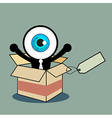 The blue eye happy in gift box vector