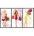 Shopping girl banner vector