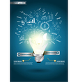 Idea light bulb broken with drawing business plan vector