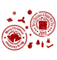 Red christmas stamps vector