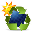 Sun recycle symbol and solar panel over white back vector