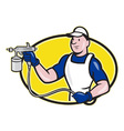 Spray painter spraying gun cartoon vector