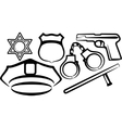 Simple with a set of police items vector