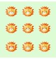 Minimalistic flat lion emotions icon set vector