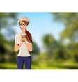 Woman with coffee cup portrait vector