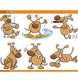 Dogs characters cartoon set vector