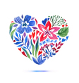 Love card with watercolor floral bouquet valentine vector