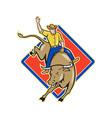 Rodeo cowboy bull riding cartoon vector