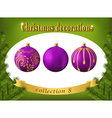 Christmas decorations collection of violet glass vector