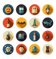 Set of flat design halloween icons vector