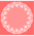 Round white lacy frame on pink background vector