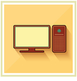 Personal computer and monitor flat icon vector