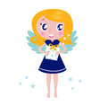 Happy little christmas angel child vector