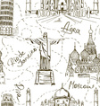 Seamless pattern of famous landmarks vector