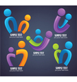 Family in bright color on dark background vector