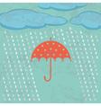 Umbrella clouds and rain drops vector