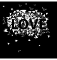 Inscription love with bird vector