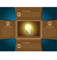 Creative template idea light bulb glowing in box vector