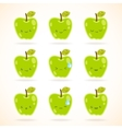 Green apple with many expressions vector