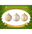 Christmas decorations collection of white glass vector