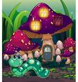 A worm near the mushroom house vector