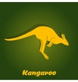 Yellow kangaroo silhouette vector