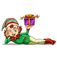 A happy elf holding a gift vector