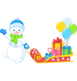 Snowman carries gifts vector