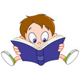 Boy reading book vector