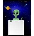 Alien with blank sign vector