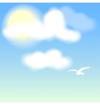 White bird on blue sky with clouds vector