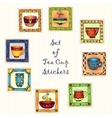 Tea cup stickers isolated on white background for vector