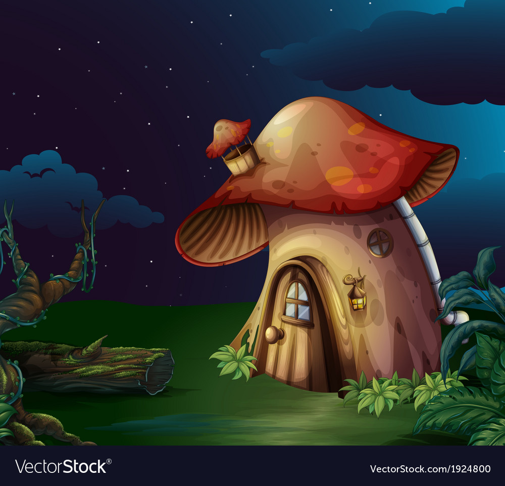 A big mushroom house at the forest vector | Price: 3 Credit (USD $3)