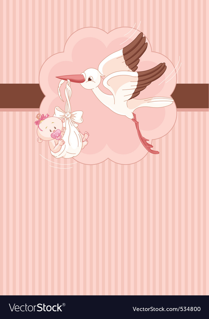 A place card of a stork delivering a newborn baby vector | Price: 1 Credit (USD $1)