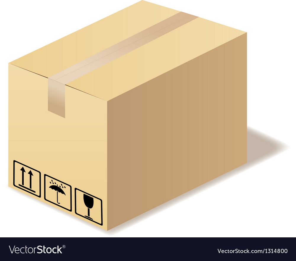 Closed cardboard box isolated in format vector | Price: 1 Credit (USD $1)