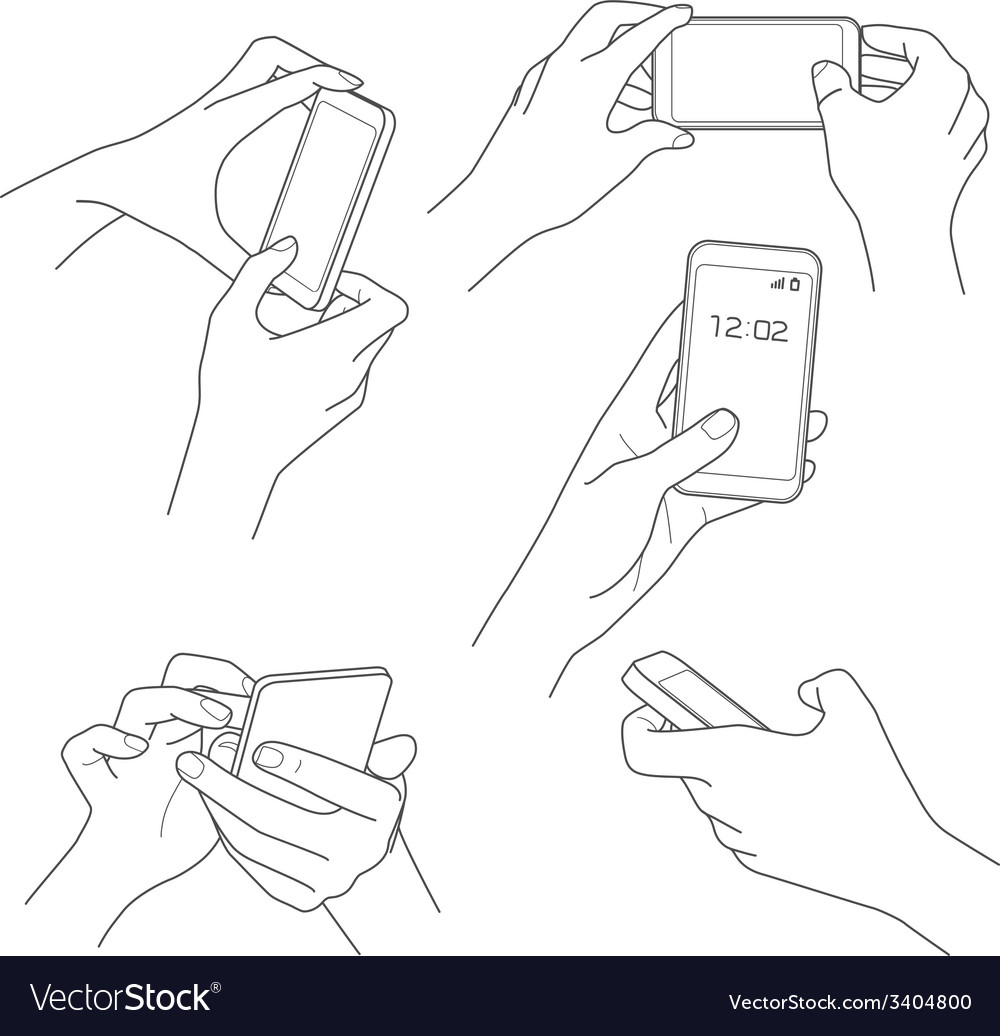 Hand holding smartphone sketch vector   Price: 1 Credit (USD $1)