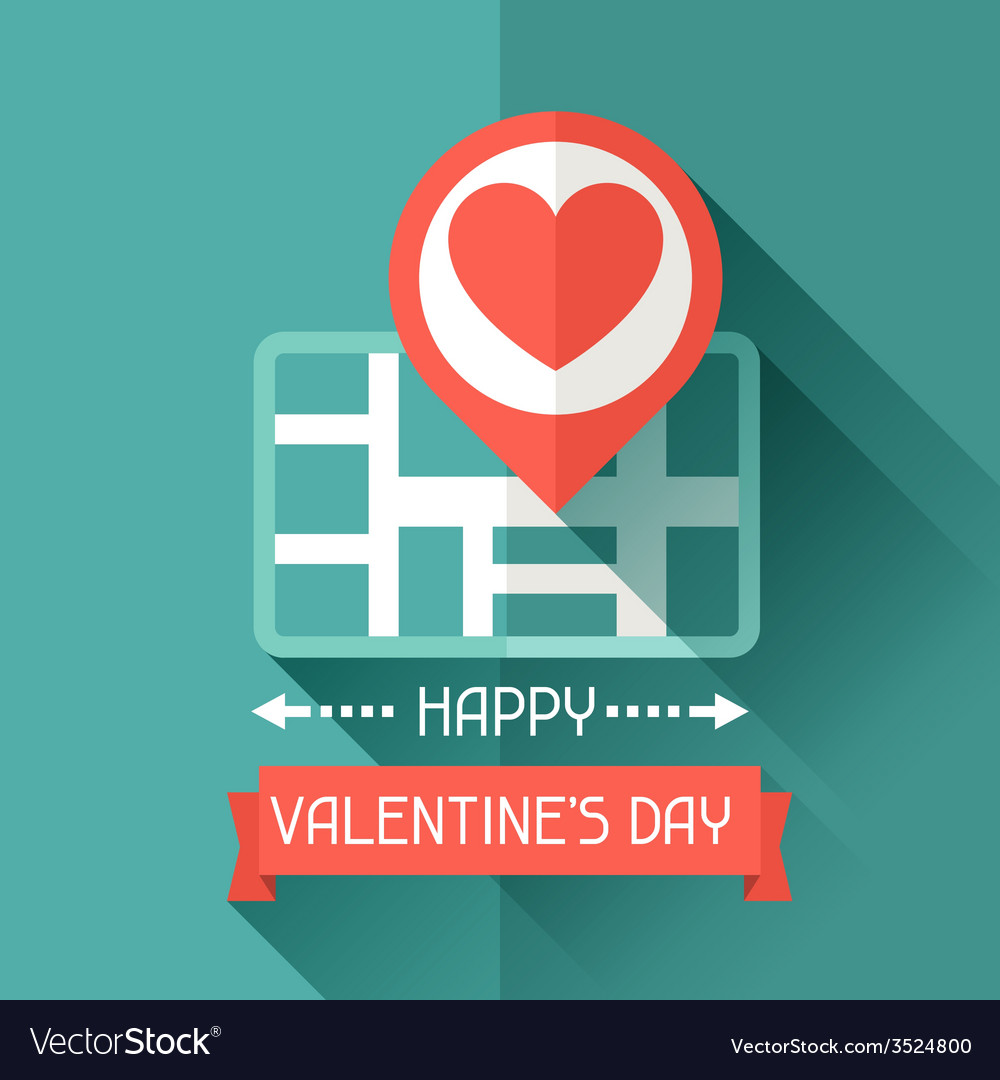 Happy valentines in flat style vector | Price: 1 Credit (USD $1)