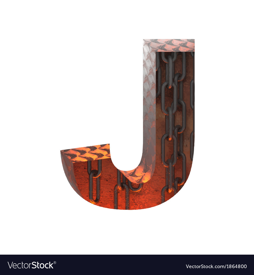 Hot metal cutted figure j paste to any background vector | Price: 1 Credit (USD $1)