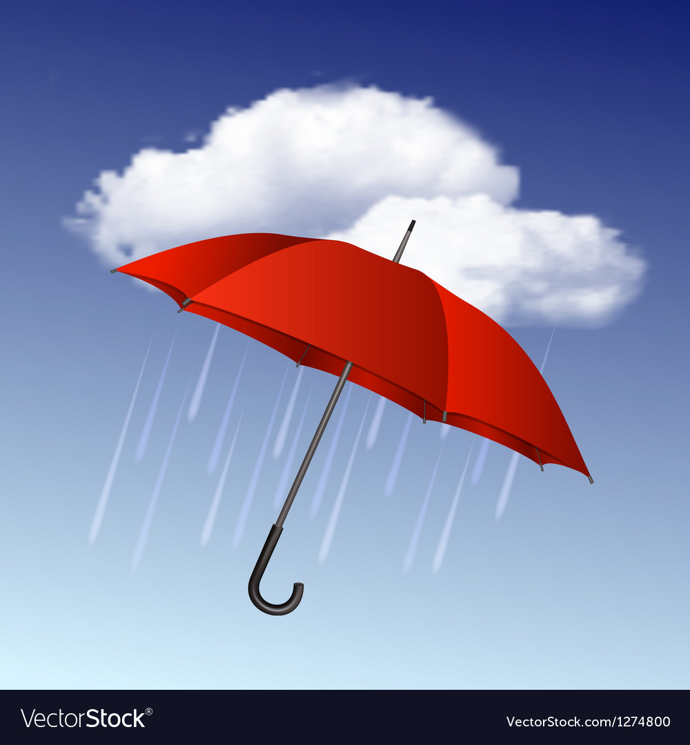 Rainy weather icon with clouds and umbrella vector | Price: 1 Credit (USD $1)