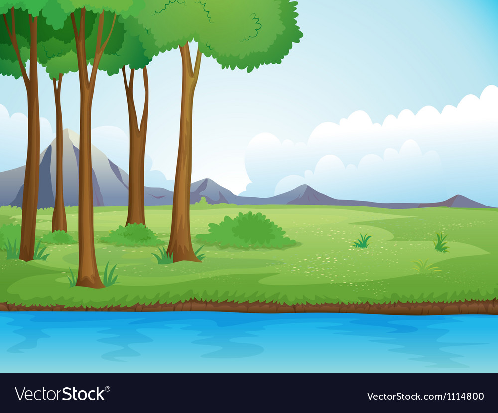 River and a tree in beautiful nature vector | Price: 1 Credit (USD $1)