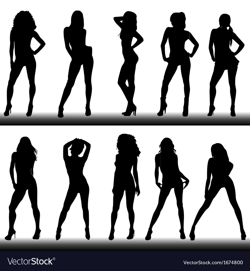 Set of girl silhouettes vector | Price: 1 Credit (USD $1)