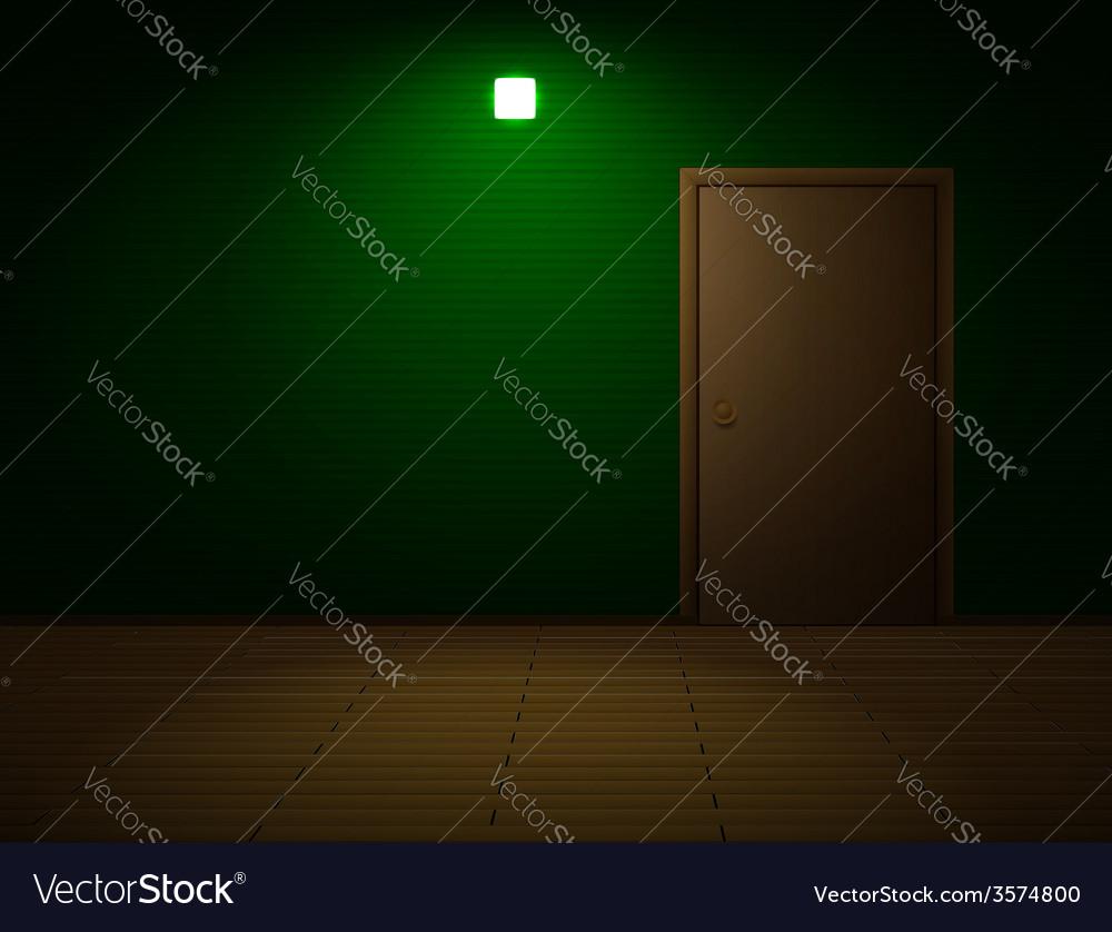 Very dark room with door vector | Price: 1 Credit (USD $1)