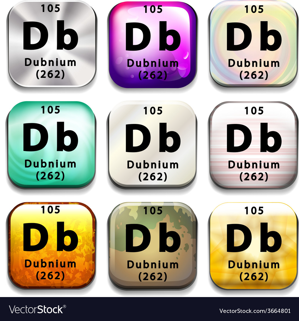 A periodic table showing dubnium vector | Price: 1 Credit (USD $1)