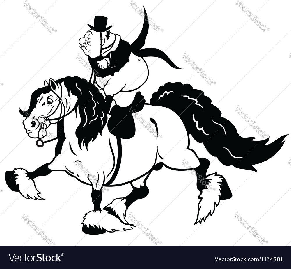 Cartoon rider on heavy horse black white vector | Price: 1 Credit (USD $1)