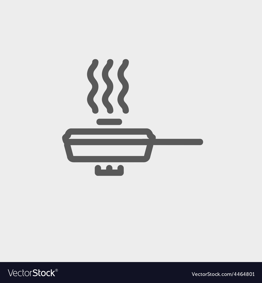 Frying pan with cover thin line icon vector | Price: 1 Credit (USD $1)