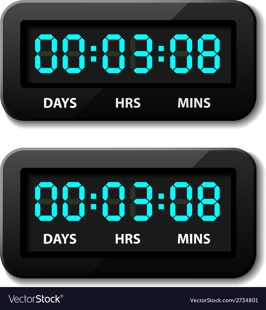 Glowing digital counter - countdown timer vector | Price: 1 Credit (USD $1)