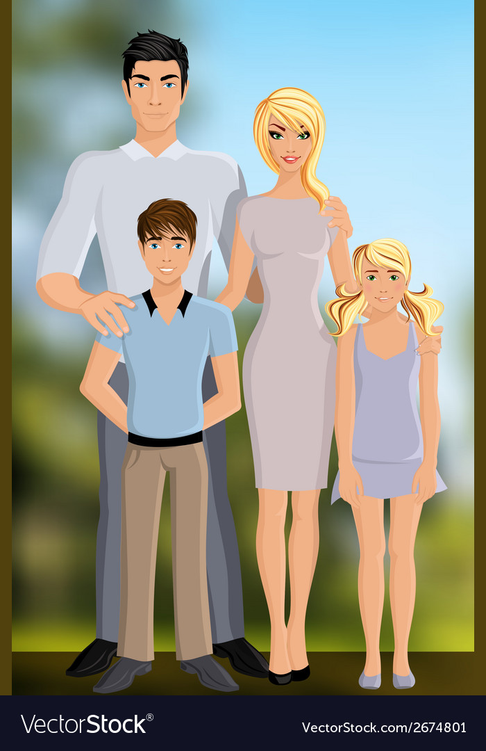 Happy family outdoor vector | Price: 1 Credit (USD $1)