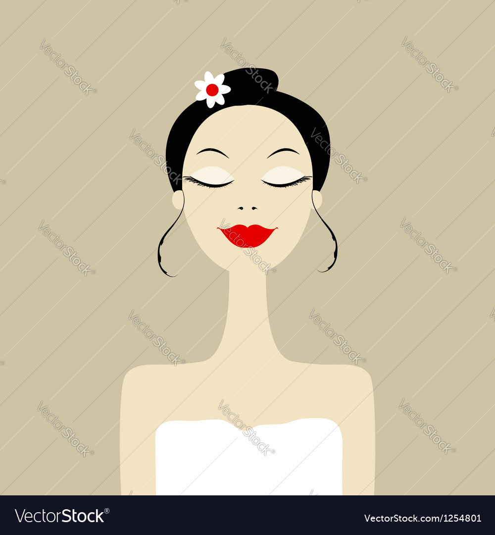 Pretty woman in spa salon vector | Price: 1 Credit (USD $1)