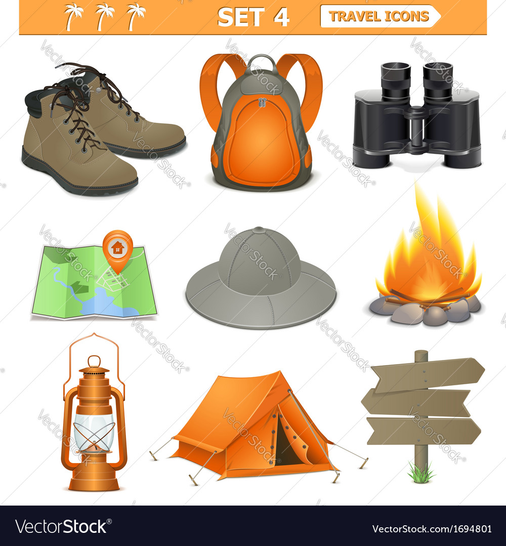 Travel icons set 4 vector | Price: 1 Credit (USD $1)