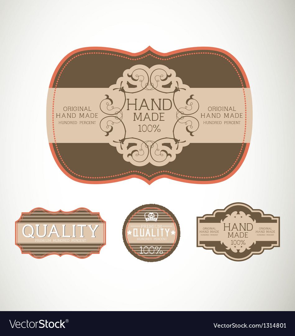 Vintage label style with four design element vector | Price: 1 Credit (USD $1)